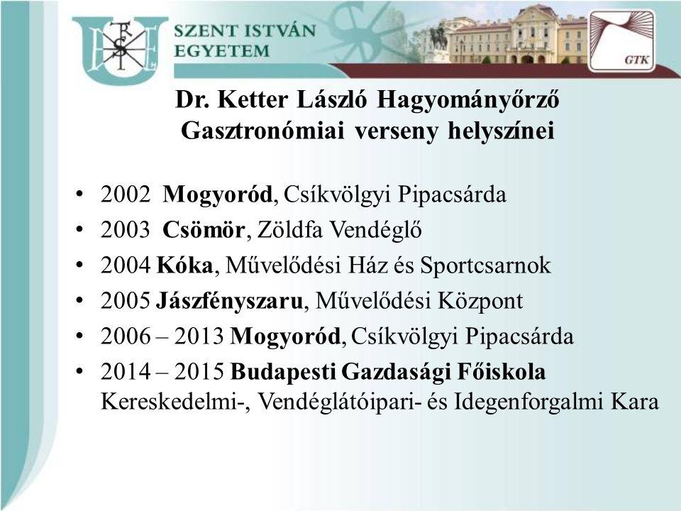 Dr. Ketter László Hagyományőrző Gasztronómiai verseny helyszínei 2002 Mogyoród, Csíkvölgyi Pipacsárda 2003 Csömör, Zöldfa Vendéglő 2004 Kóka, Művelődé