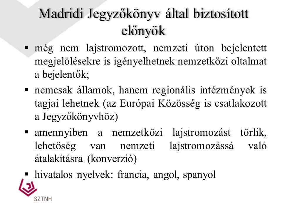 Madridi Jegyzőkönyv A Madridi Megállapodást egészíti ki 1989-ben aláírt (Magyarország is aláírta) 1995. december 1-jén lépett hatályba Továbbfejleszte