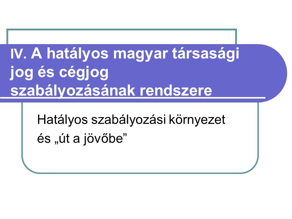 """IV. A hatályos magyar társasági jog és cégjog szabályozásának rendszere Hatályos szabályozási környezet és """"út a jövőbe"""""""