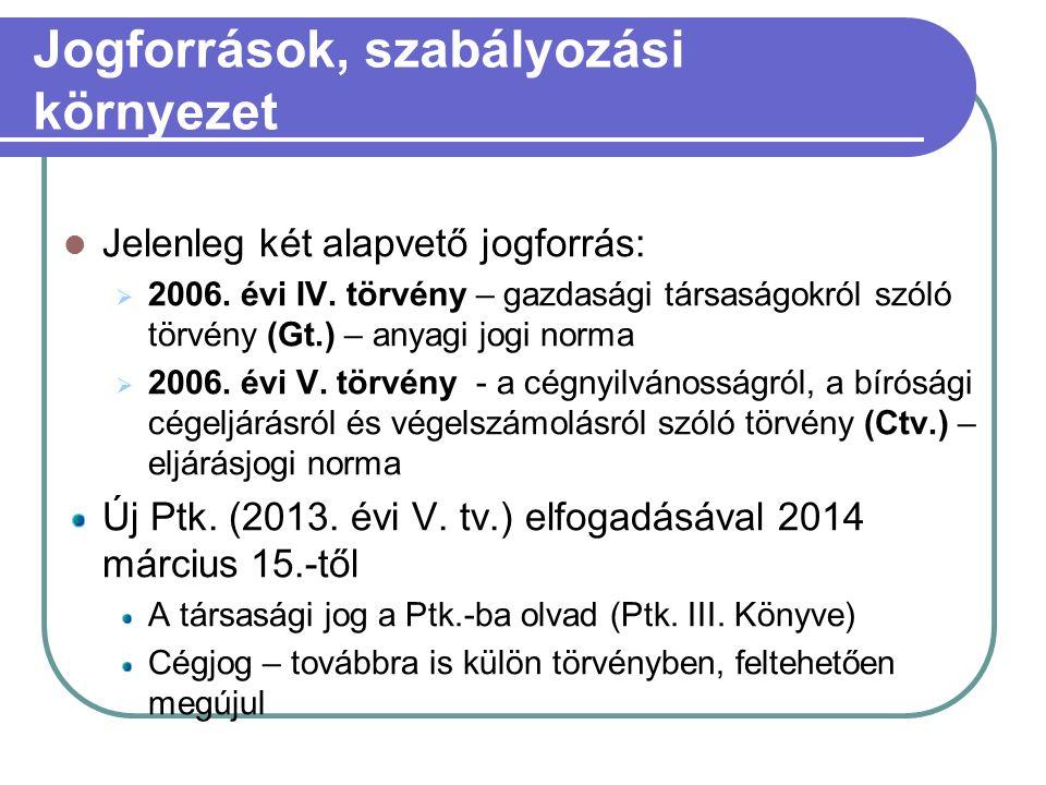 Jogforrások, szabályozási környezet Jelenleg két alapvető jogforrás:  2006.