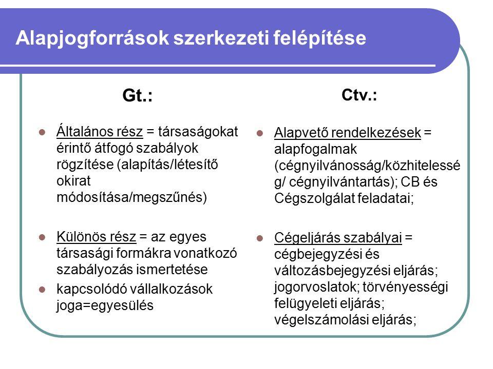 Alapjogforrások szerkezeti felépítése Gt.: Általános rész = társaságokat érintő átfogó szabályok rögzítése (alapítás/létesítő okirat módosítása/megszűnés) Különös rész = az egyes társasági formákra vonatkozó szabályozás ismertetése kapcsolódó vállalkozások joga=egyesülés Ctv.: Alapvető rendelkezések = alapfogalmak (cégnyilvánosság/közhitelessé g/ cégnyilvántartás); CB és Cégszolgálat feladatai; Cégeljárás szabályai = cégbejegyzési és változásbejegyzési eljárás; jogorvoslatok; törvényességi felügyeleti eljárás; végelszámolási eljárás;