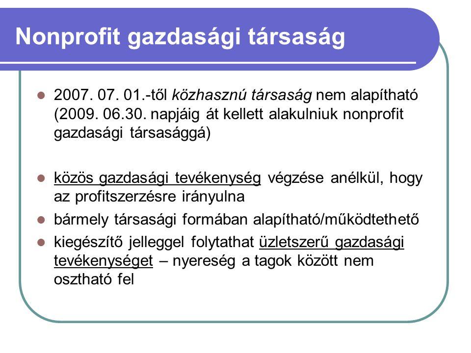 Nonprofit gazdasági társaság 2007. 07. 01.-től közhasznú társaság nem alapítható (2009.