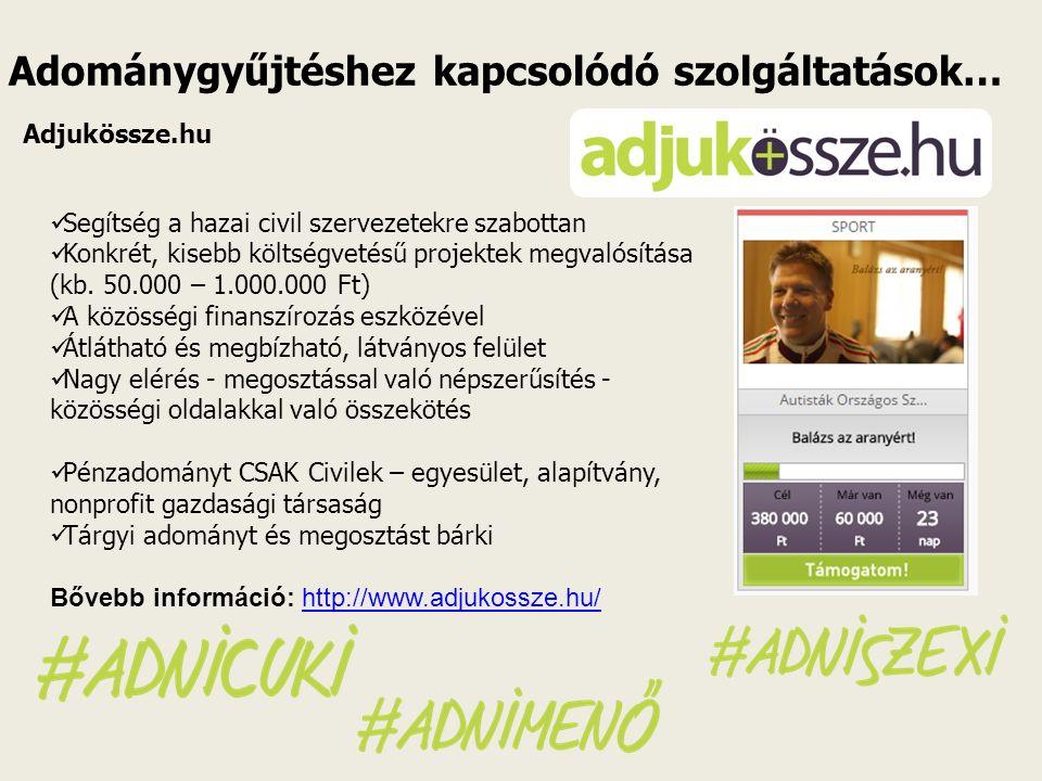 Adománygyűjtéshez kapcsolódó szolgáltatások… Adjukössze.hu Segítség a hazai civil szervezetekre szabottan Konkrét, kisebb költségvetésű projektek megvalósítása (kb.