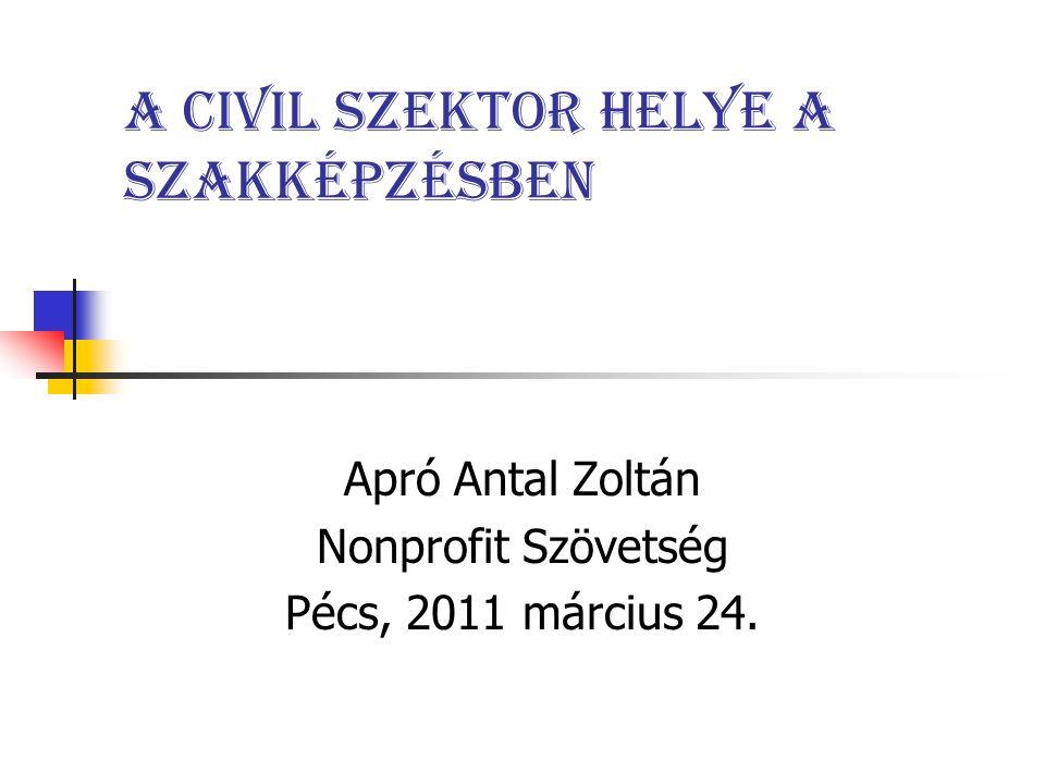 A civil szektor helye a szakképzésben Apró Antal Zoltán Nonprofit Szövetség Pécs, 2011 március 24.