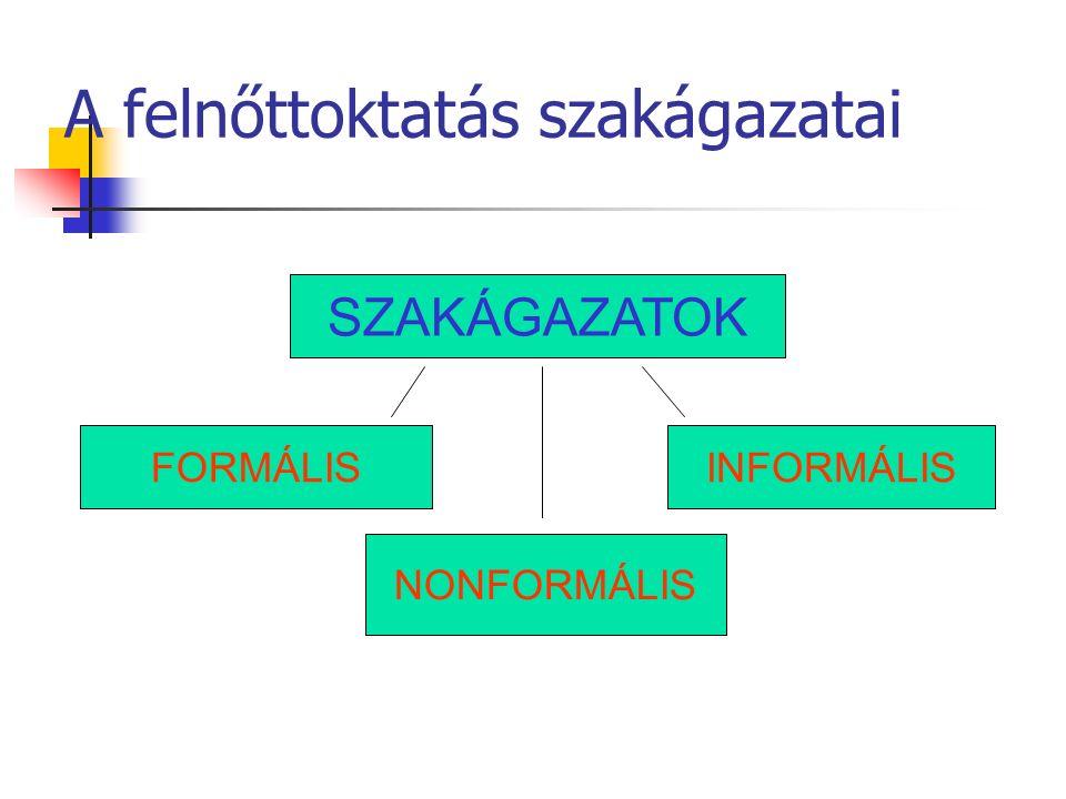 A felnőttoktatás szakágazatai SZAKÁGAZATOK FORMÁLIS NONFORMÁLIS INFORMÁLIS