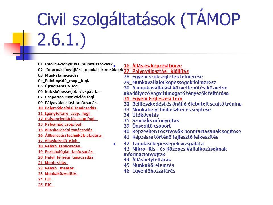 Civil szolgáltatások (TÁMOP 2.6.1.) 01_Információnyújtás_munkáltatóknak 02_ Információnyújtás _munkát_keresőknek 03 Munkatanácsadás 04_Reintegráló_csop._fogl.