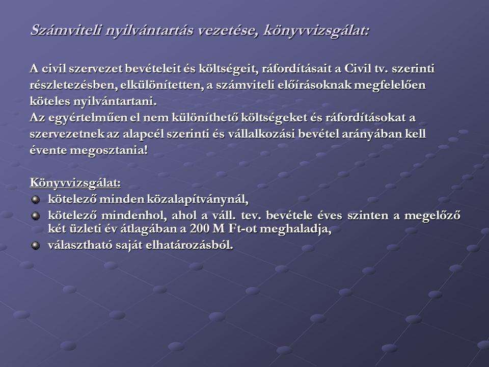 Számviteli nyilvántartás vezetése, könyvvizsgálat: A civil szervezet bevételeit és költségeit, ráfordításait a Civil tv.