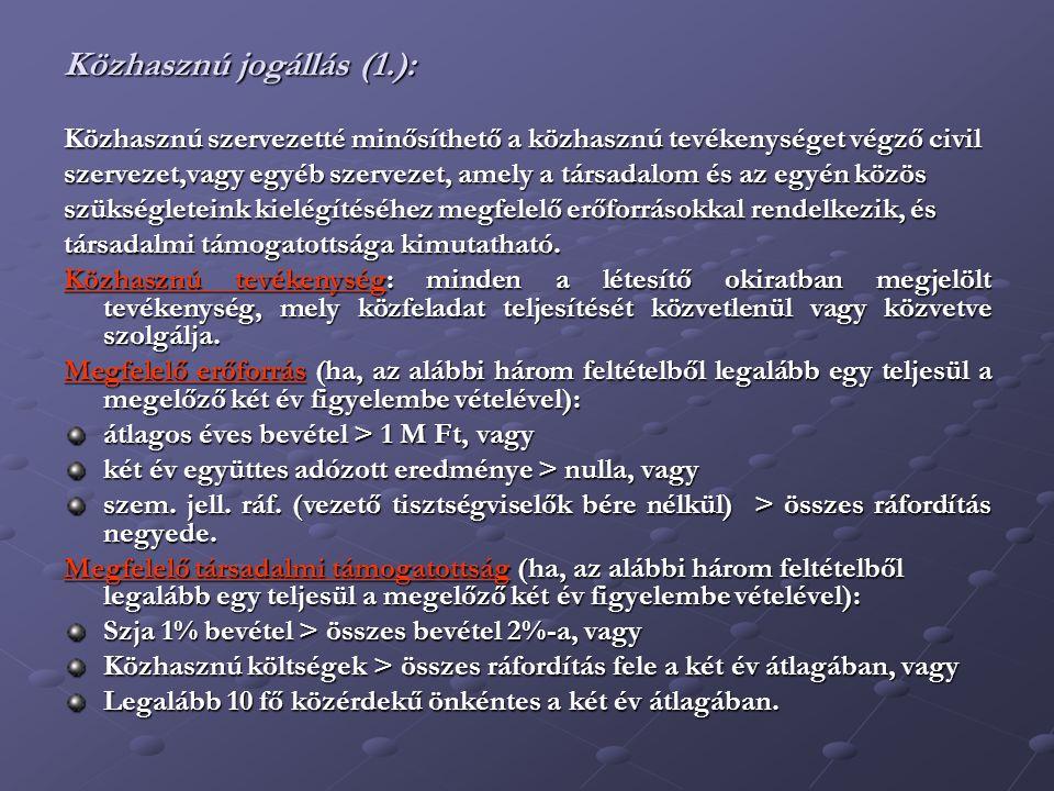 Közhasznú jogállás (2.): 2014.