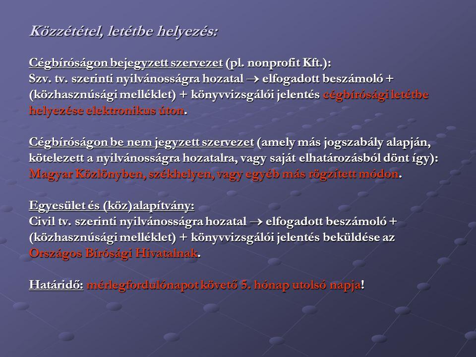 Közzététel, letétbe helyezés: Cégbíróságon bejegyzett szervezet (pl.