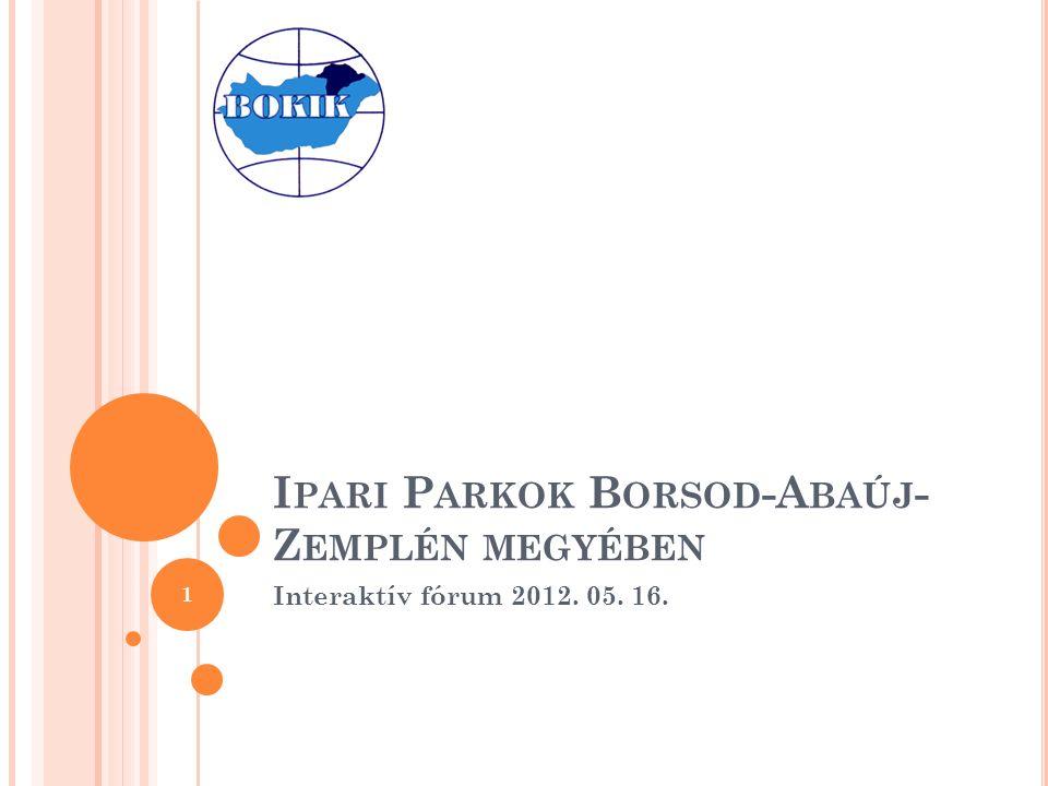 I PARI P ARKOK B ORSOD -A BAÚJ - Z EMPLÉN MEGYÉBEN Interaktív fórum 2012. 05. 16. 1