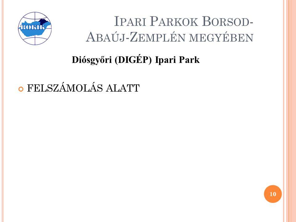 I PARI P ARKOK B ORSOD - A BAÚJ -Z EMPLÉN MEGYÉBEN Diósgyőri (DIGÉP) Ipari Park FELSZÁMOLÁS ALATT 10
