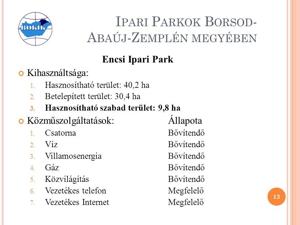 I PARI P ARKOK B ORSOD - A BAÚJ -Z EMPLÉN MEGYÉBEN Encsi Ipari Park Kihasználtsága: 1.