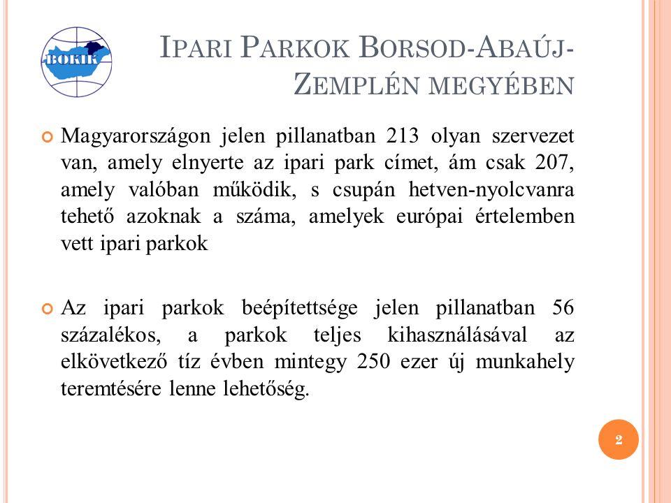 I PARI P ARKOK B ORSOD -A BAÚJ - Z EMPLÉN MEGYÉBEN Magyarországon jelen pillanatban 213 olyan szervezet van, amely elnyerte az ipari park címet, ám csak 207, amely valóban működik, s csupán hetven-nyolcvanra tehető azoknak a száma, amelyek európai értelemben vett ipari parkok Az ipari parkok beépítettsége jelen pillanatban 56 százalékos, a parkok teljes kihasználásával az elkövetkező tíz évben mintegy 250 ezer új munkahely teremtésére lenne lehetőség.