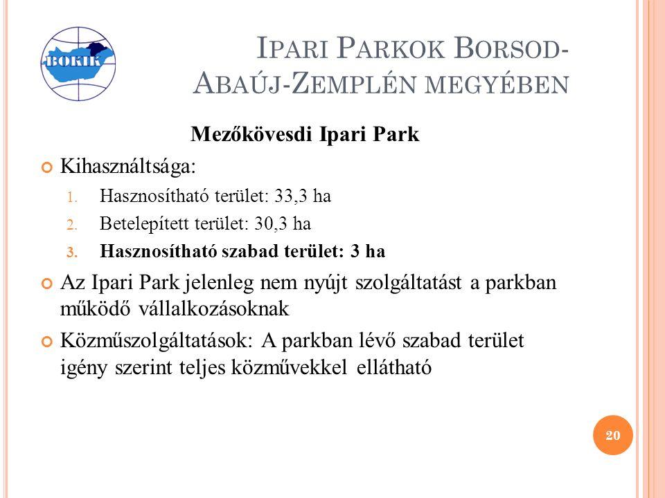 I PARI P ARKOK B ORSOD - A BAÚJ -Z EMPLÉN MEGYÉBEN Mezőkövesdi Ipari Park Kihasználtsága: 1.