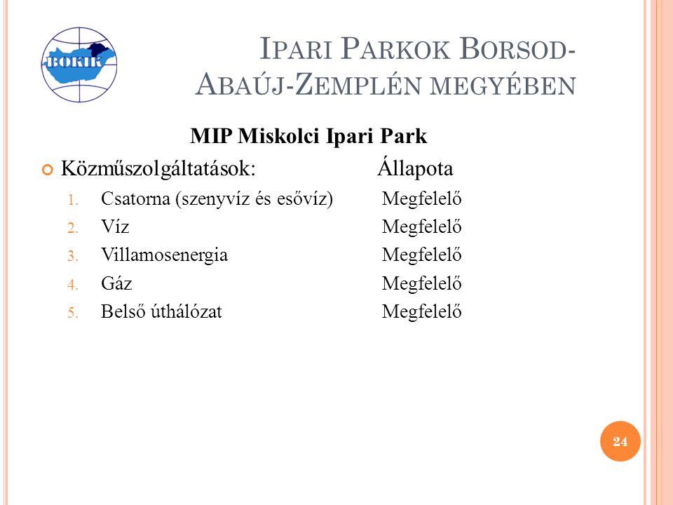 I PARI P ARKOK B ORSOD - A BAÚJ -Z EMPLÉN MEGYÉBEN MIP Miskolci Ipari Park Közműszolgáltatások:Állapota 1.