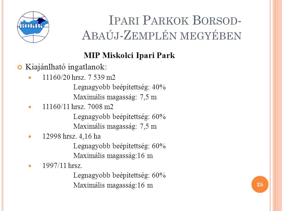 I PARI P ARKOK B ORSOD - A BAÚJ -Z EMPLÉN MEGYÉBEN MIP Miskolci Ipari Park Kiajánlható ingatlanok: 11160/20 hrsz.