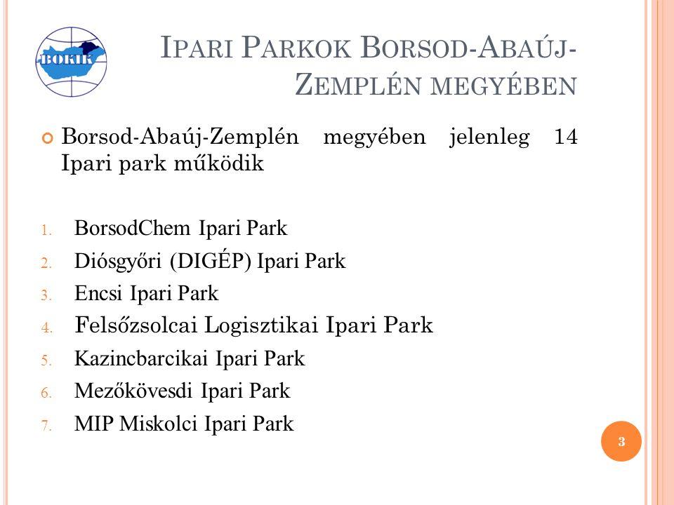 I PARI P ARKOK B ORSOD -A BAÚJ - Z EMPLÉN MEGYÉBEN Borsod-Abaúj-Zemplén megyében jelenleg 14 Ipari park működik 1.