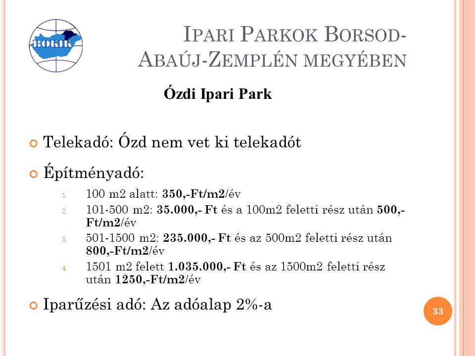 I PARI P ARKOK B ORSOD - A BAÚJ -Z EMPLÉN MEGYÉBEN Ózdi Ipari Park Telekadó: Ózd nem vet ki telekadót Építményadó: 1.