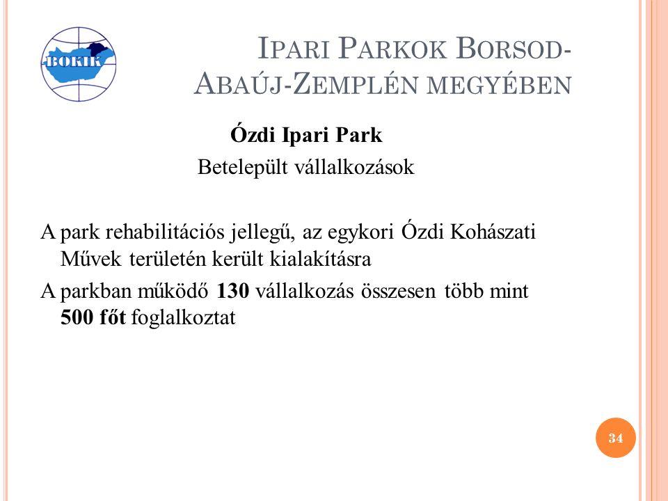 I PARI P ARKOK B ORSOD - A BAÚJ -Z EMPLÉN MEGYÉBEN Ózdi Ipari Park Betelepült vállalkozások A park rehabilitációs jellegű, az egykori Ózdi Kohászati Művek területén került kialakításra A parkban működő 130 vállalkozás összesen több mint 500 főt foglalkoztat 34
