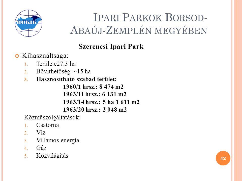 I PARI P ARKOK B ORSOD - A BAÚJ -Z EMPLÉN MEGYÉBEN Szerencsi Ipari Park Kihasználtsága: 1.