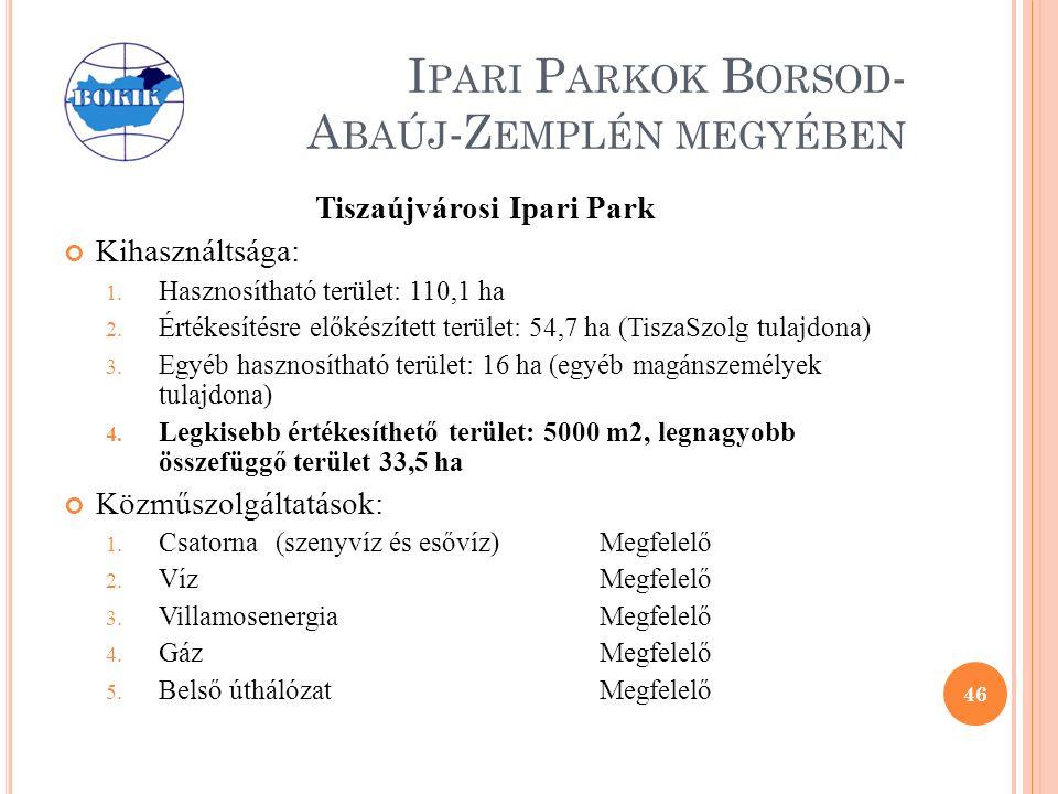 I PARI P ARKOK B ORSOD - A BAÚJ -Z EMPLÉN MEGYÉBEN Tiszaújvárosi Ipari Park Kihasználtsága: 1.