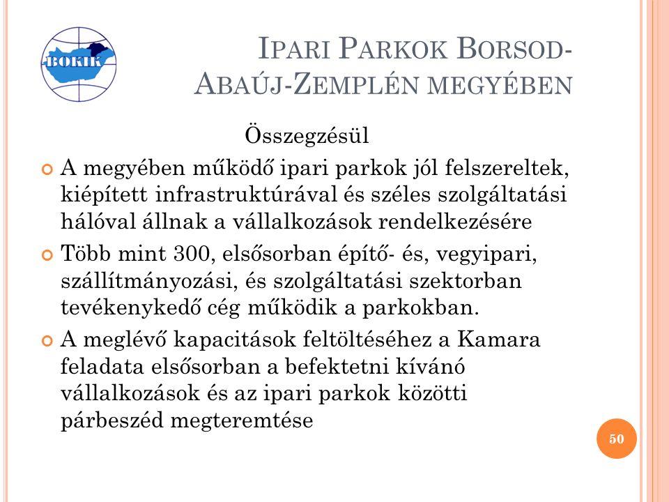 I PARI P ARKOK B ORSOD - A BAÚJ -Z EMPLÉN MEGYÉBEN Összegzésül A megyében működő ipari parkok jól felszereltek, kiépített infrastruktúrával és széles szolgáltatási hálóval állnak a vállalkozások rendelkezésére Több mint 300, elsősorban építő- és, vegyipari, szállítmányozási, és szolgáltatási szektorban tevékenykedő cég működik a parkokban.