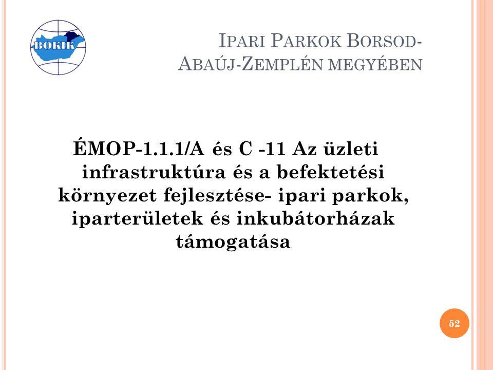 I PARI P ARKOK B ORSOD - A BAÚJ -Z EMPLÉN MEGYÉBEN ÉMOP-1.1.1/A és C -11 Az üzleti infrastruktúra és a befektetési környezet fejlesztése- ipari parkok, iparterületek és inkubátorházak támogatása 52