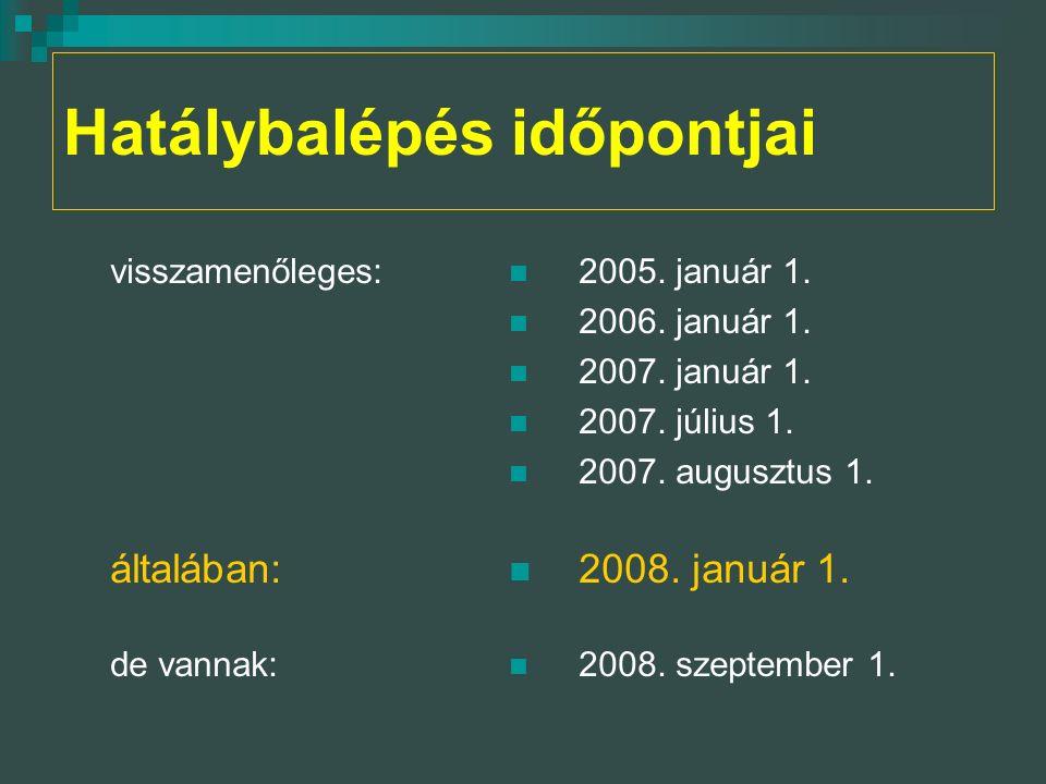 Hatálybalépés időpontjai visszamenőleges: általában: de vannak: 2005.
