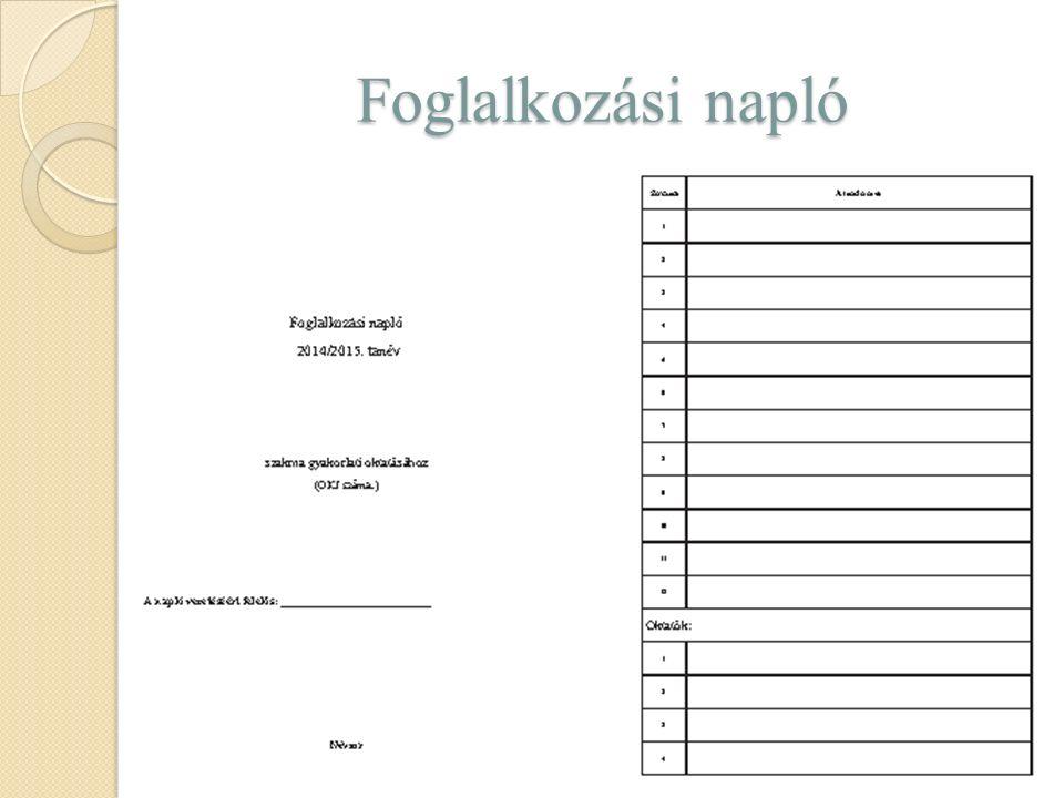 Foglalkozási napló