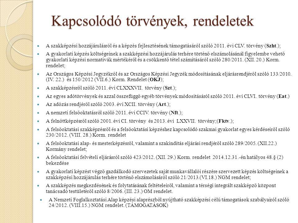 Kapcsolódó törvények, rendeletek A szakképzési hozzájárulásról és a képzés fejlesztésének támogatásáról szóló 2011.