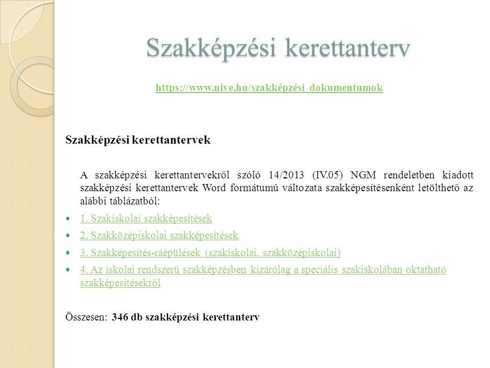 Szakképzési kerettanterv https://www.nive.hu/szakképzési dokumentumok Szakképzési kerettantervek A szakképzési kerettantervekről szóló 14/2013 (IV.05) NGM rendeletben kiadott szakképzési kerettantervek Word formátumú változata szakképesítésenként letölthető az alábbi táblázatból: 1.