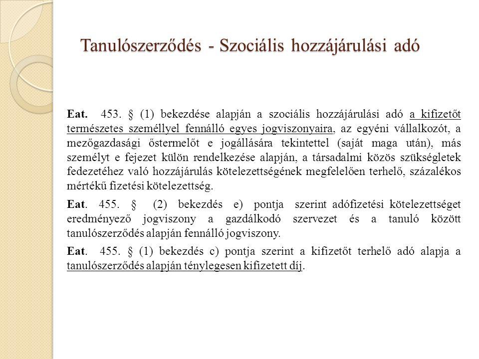 Tanulószerződés - Szociális hozzájárulási adó Eat.