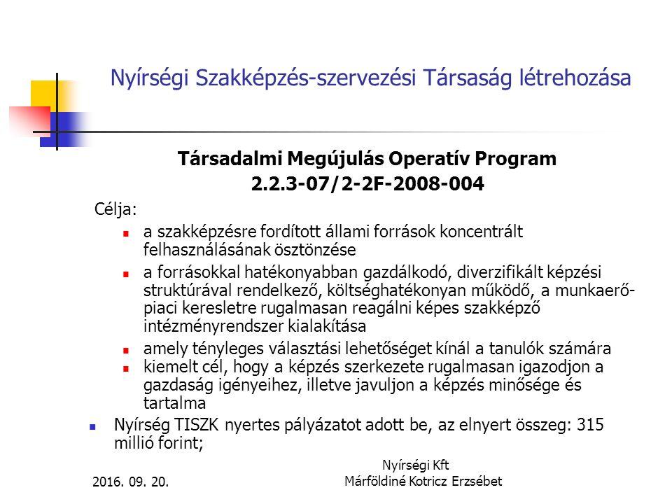 Nyírségi Szakképzés-szervezési Társaság létrehozása Társadalmi Megújulás Operatív Program 2.2.3-07/2-2F-2008-004 Célja: a szakképzésre fordított állami források koncentrált felhasználásának ösztönzése a forrásokkal hatékonyabban gazdálkodó, diverzifikált képzési struktúrával rendelkező, költséghatékonyan működő, a munkaerő- piaci keresletre rugalmasan reagálni képes szakképző intézményrendszer kialakítása amely tényleges választási lehetőséget kínál a tanulók számára kiemelt cél, hogy a képzés szerkezete rugalmasan igazodjon a gazdaság igényeihez, illetve javuljon a képzés minősége és tartalma Nyírség TISZK nyertes pályázatot adott be, az elnyert összeg: 315 millió forint; 2016.