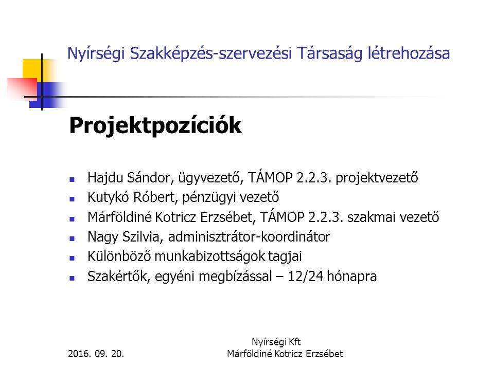 Nyírségi Szakképzés-szervezési Társaság létrehozása Projektpozíciók Hajdu Sándor, ügyvezető, TÁMOP 2.2.3. projektvezető Kutykó Róbert, pénzügyi vezető