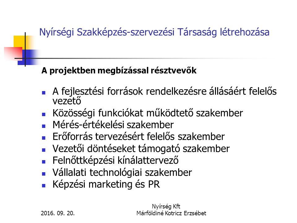 Nyírségi Szakképzés-szervezési Társaság tevékenysége A TISZK működési területei: Irányítási folyamatok (törvényi fenntartói hatáskörök, erőforrástervezés, stratégia) Kapcsolattartási folyamatok (munkaügyi központ, kamara, cégek) Pedagógiai együttműködés folyamatai (iskolák közti hálózati szolgáltatások: HH, SNI, mérés-értékelés, nyomonkövetés, pályaorientáció, tantervi együttműködés) Szervezeti működtetés folyamatai