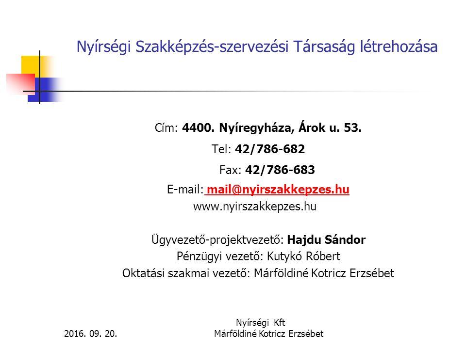Nyírségi Szakképzés-szervezési Társaság létrehozása Cím: 4400. Nyíregyháza, Árok u. 53. Tel: 42/786-682 Fax: 42/786-683 E-mail: mail@nyirszakkepzes.hu