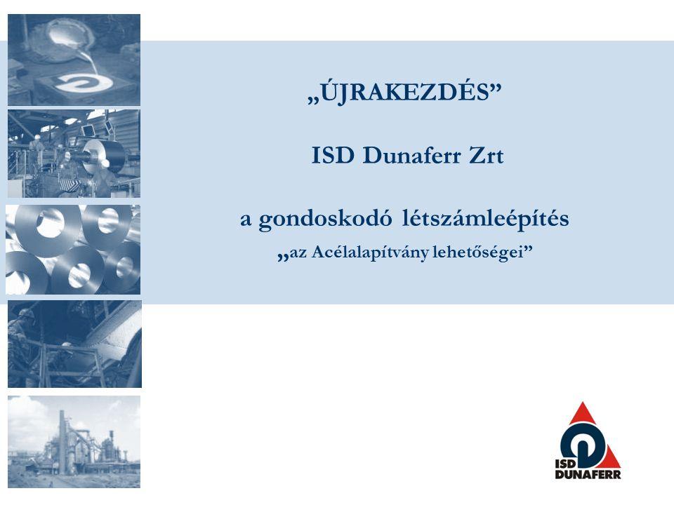 """""""ÚJRAKEZDÉS ISD Dunaferr Zrt a gondoskodó létszámleépítés """" az Acélalapítvány lehetőségei"""