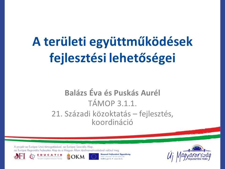 A területi együttműködések fejlesztési lehetőségei Balázs Éva és Puskás Aurél TÁMOP 3.1.1.