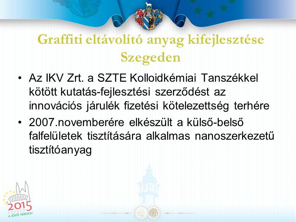 Graffiti eltávolító anyag kifejlesztése Szegeden Az IKV Zrt. a SZTE Kolloidkémiai Tanszékkel kötött kutatás-fejlesztési szerződést az innovációs járul