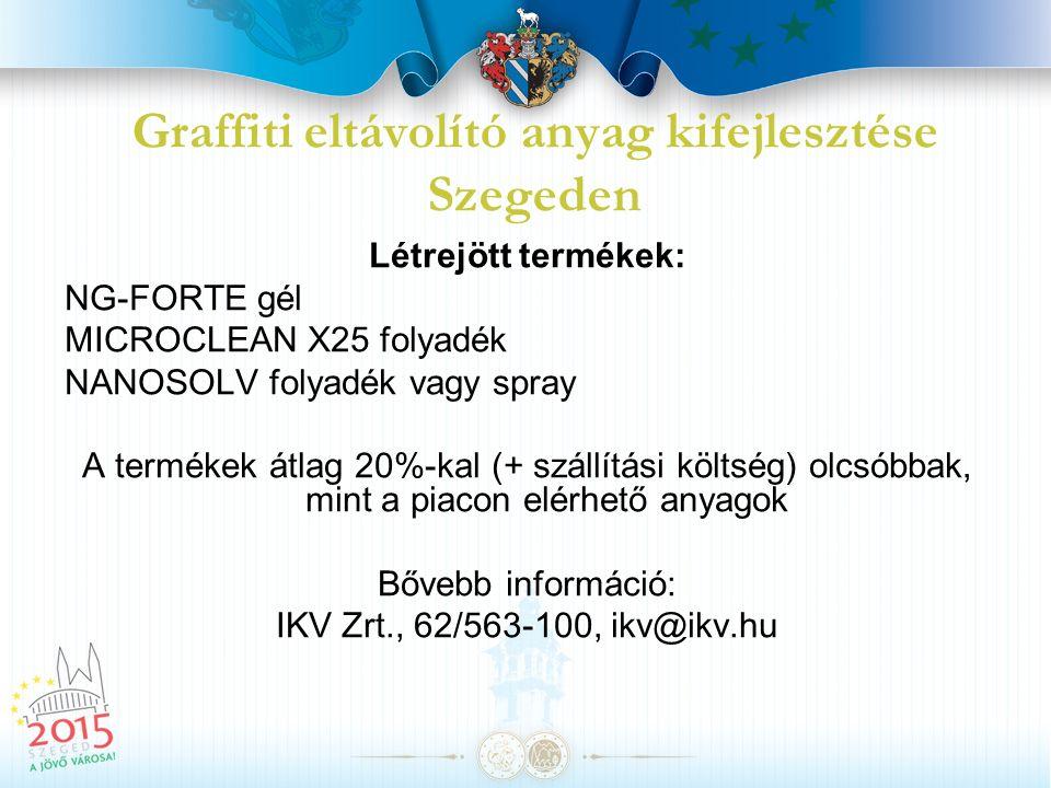 Graffiti eltávolító anyag kifejlesztése Szegeden Létrejött termékek: NG-FORTE gél MICROCLEAN X25 folyadék NANOSOLV folyadék vagy spray A termékek átla