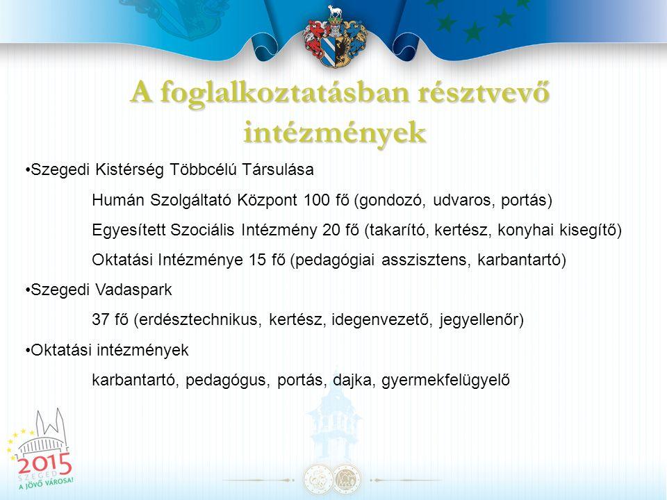 A foglalkoztatásban résztvevő civil szervezetek ÁGOTA Alapítvány 10 fő (gyermekfelügyelő asszisztens, ügyintéző, teremfelügyelő) Dél-alföldi Regionális Társadalomtudományi Kutatási Egyesület 30 fő (kérdezőbiztos, mentortanár, adatrögzítő, kutató) Városőrség 30 fő városőr Szegedi Mozgássérültek Alternatív Egyesülete 4 fő (személykísérő, sofőr) Csongrád Megyei és Szegedi Cigány Kisebbségi Önkormányzat 4 fő (pályázatíró, takarító) Népek Zenéje Kulturális Egyesület 10 fő zenész