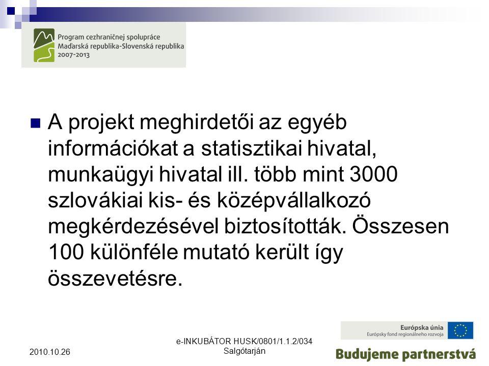 e-INKUBÁTOR HUSK/0801/1.1.2/034 Salgótarján 2010.10.26 A projekt meghirdetői az egyéb információkat a statisztikai hivatal, munkaügyi hivatal ill.