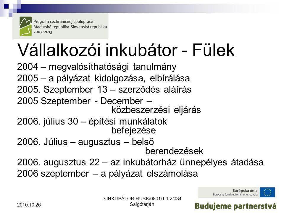 e-INKUBÁTOR HUSK/0801/1.1.2/034 Salgótarján 2010.10.26 Vállalkozói inkubátor - Fülek 2004 – megvalósíthatósági tanulmány 2005 – a pályázat kidolgozása, elbírálása 2005.