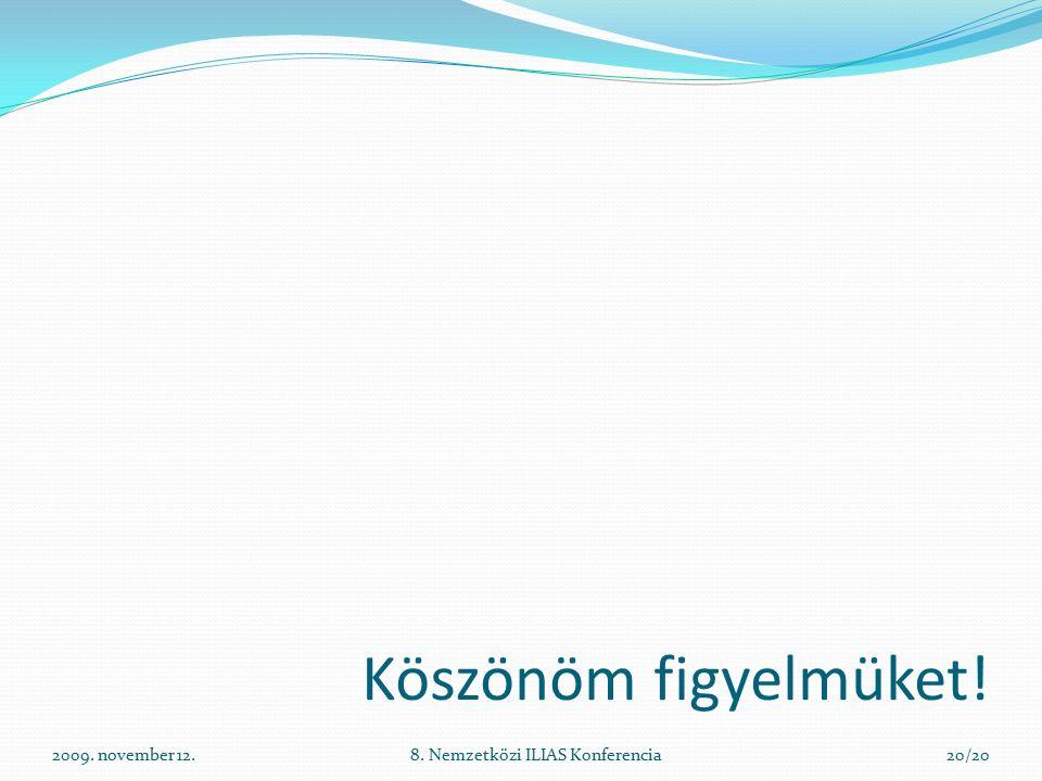2009. november 12.8. Nemzetközi ILIAS Konferencia20/20 Köszönöm figyelmüket!