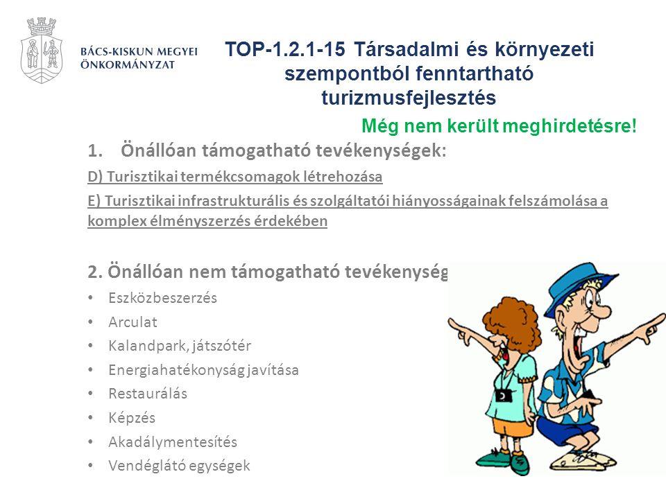TOP-1.2.1-15 Társadalmi és környezeti szempontból fenntartható turizmusfejlesztés 1.Önállóan támogatható tevékenységek: D) Turisztikai termékcsomagok