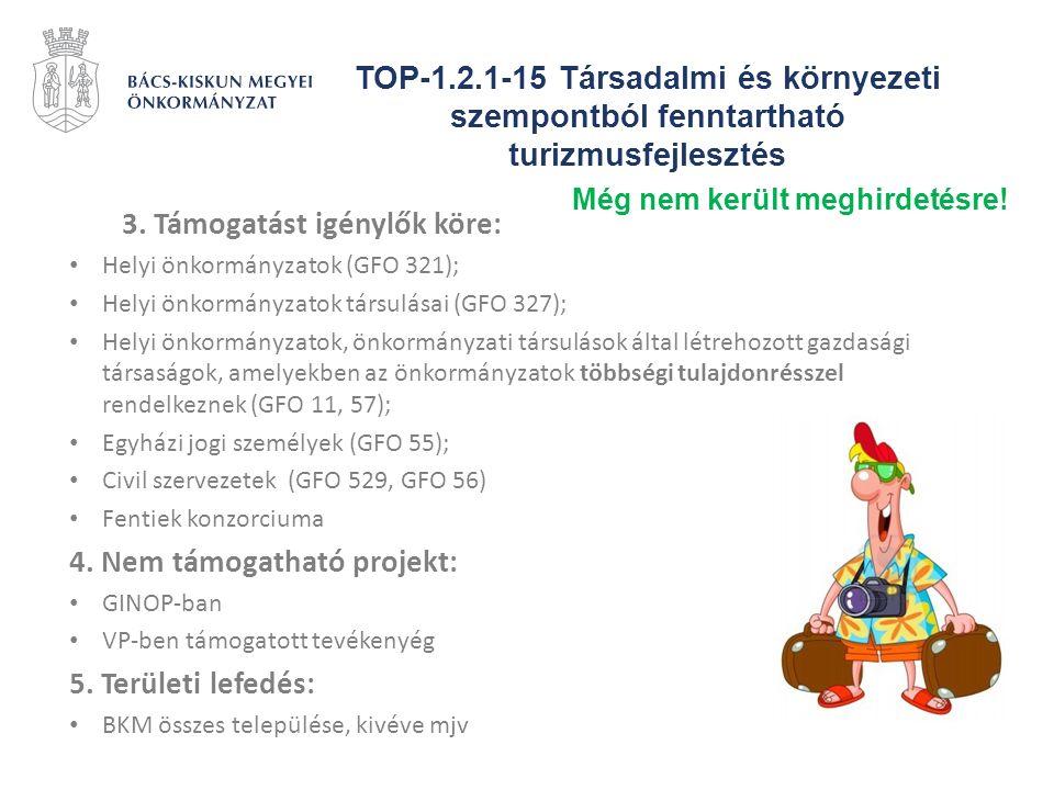 TOP-1.2.1-15 Társadalmi és környezeti szempontból fenntartható turizmusfejlesztés 3. Támogatást igénylők köre: Helyi önkormányzatok (GFO 321); Helyi ö