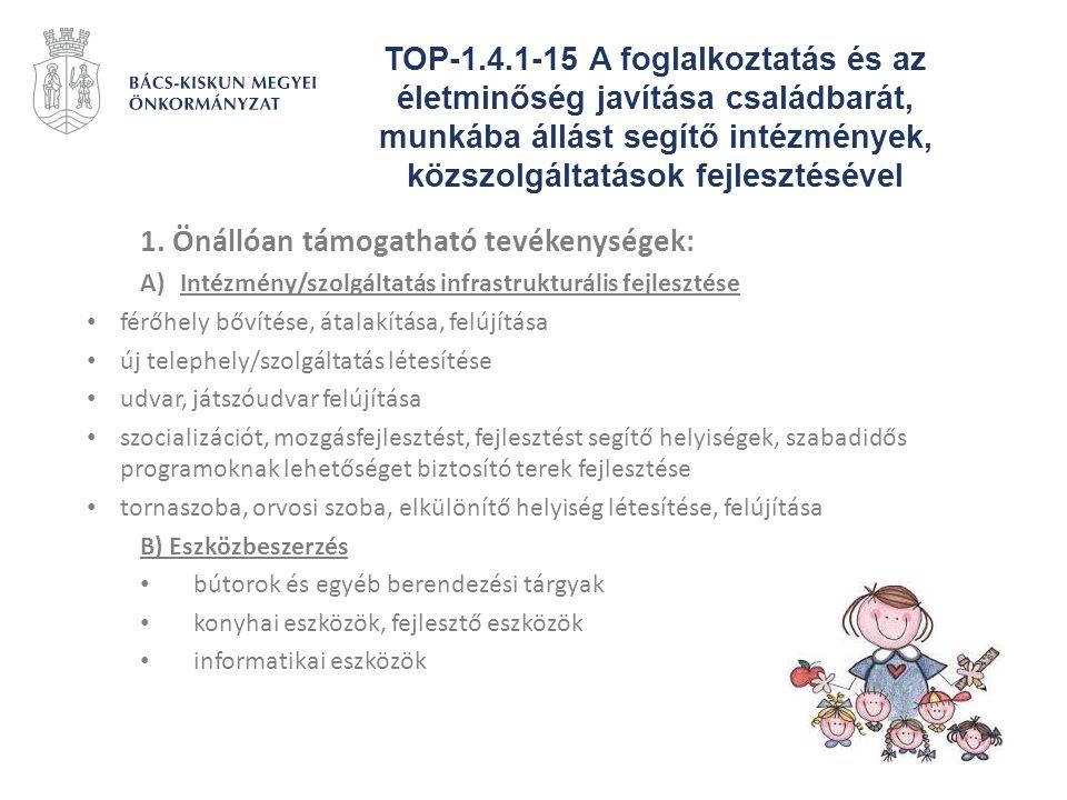 TOP-1.4.1-15 A foglalkoztatás és az életminőség javítása családbarát, munkába állást segítő intézmények, közszolgáltatások fejlesztésével 1. Önállóan