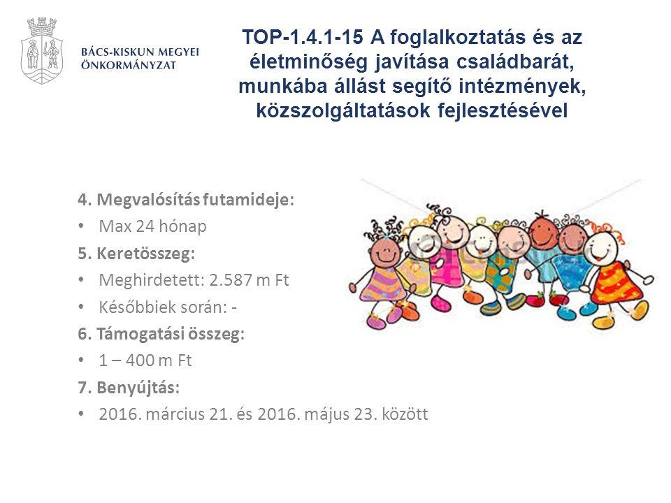 TOP-1.4.1-15 A foglalkoztatás és az életminőség javítása családbarát, munkába állást segítő intézmények, közszolgáltatások fejlesztésével 4. Megvalósí