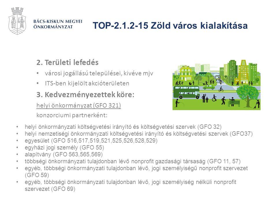 TOP-2.1.2-15 Zöld város kialakítása 2. Területi lefedés városi jogállású települései, kivéve mjv ITS-ben kijelölt akcióterületen 3. Kedvezményezettek