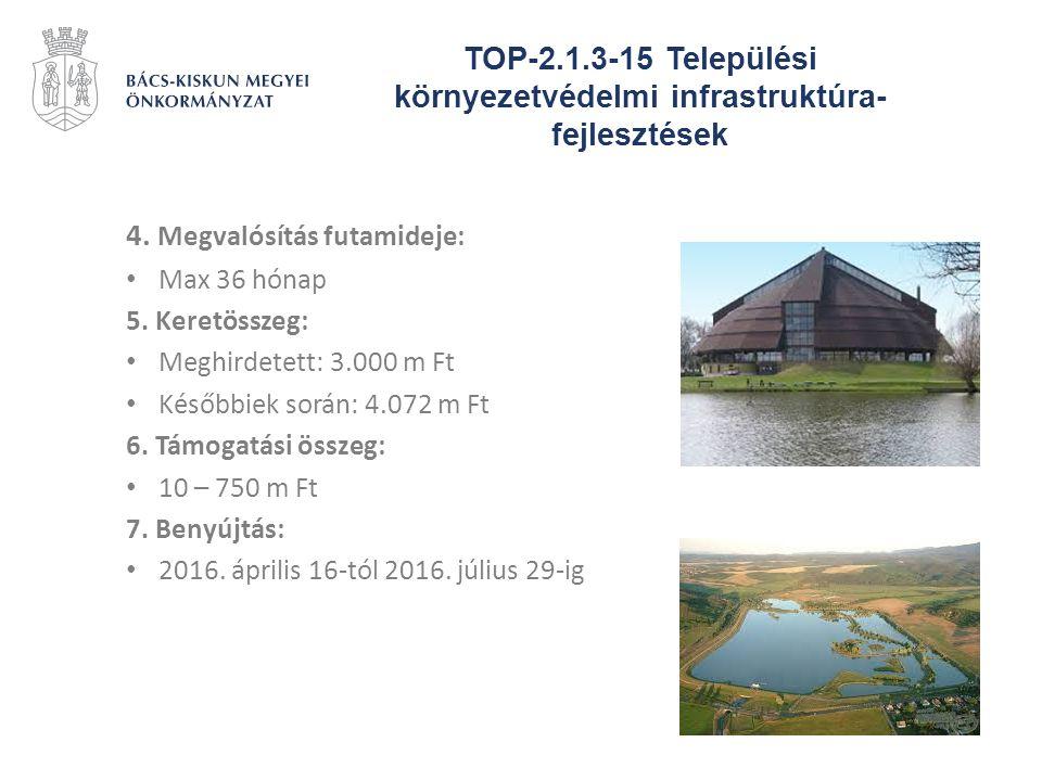 TOP-2.1.3-15 Települési környezetvédelmi infrastruktúra- fejlesztések 4. Megvalósítás futamideje: Max 36 hónap 5. Keretösszeg: Meghirdetett: 3.000 m F